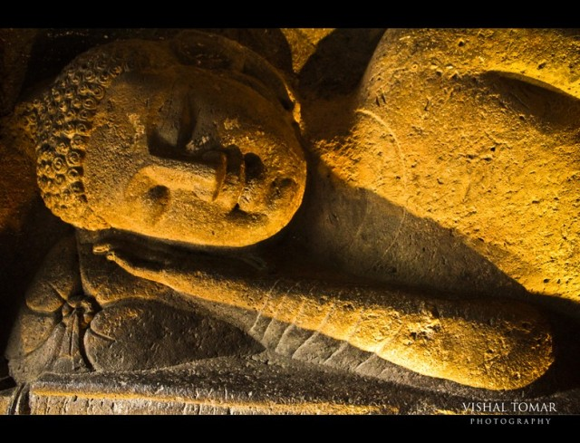 The sleeping buddha. one of the very few carvings of lord buddha in this pose.