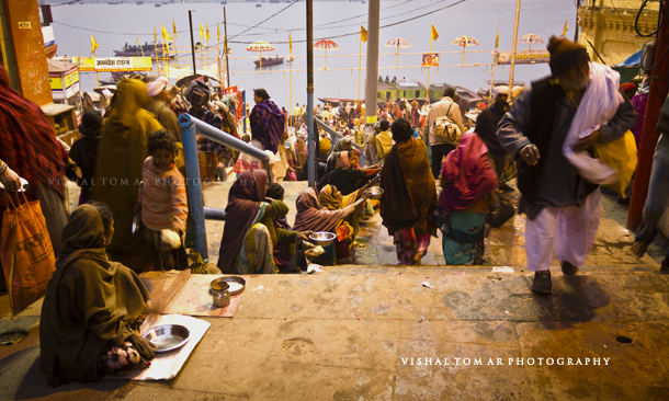 beggars galore - too many beggars at pilgrimages, Varanasi is no different.