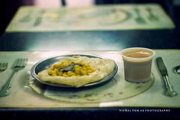 Paratha with Dal with MIlk-Powder tea. they don't have cows here apparently..!